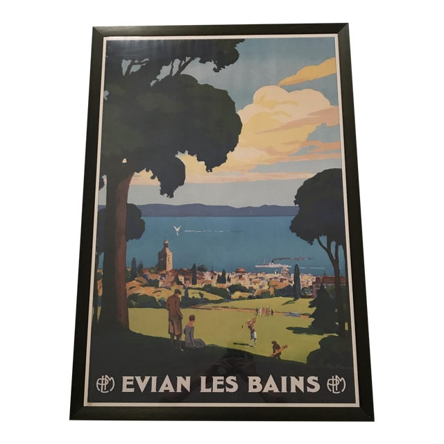 "Framed ""Evian Les Bains"" Tourism Advertisement For Sale"