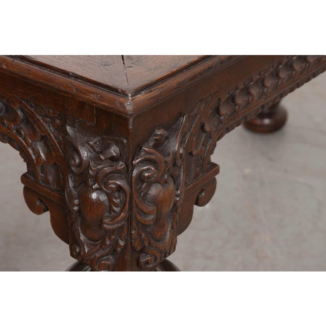 French 18th Century Elizabethan-Style Hand-Carved Oak Center Table For Sale - Image 9 of 13