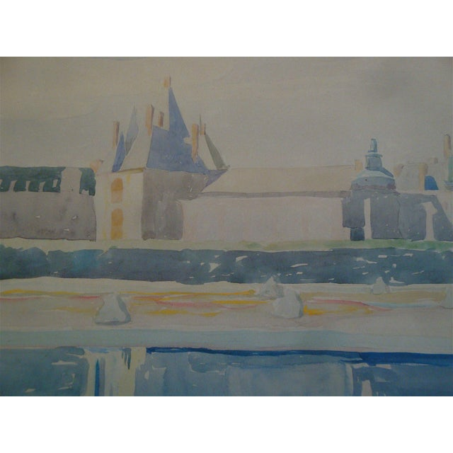 French French Château Watercolor Landscape Painting For Sale - Image 3 of 6