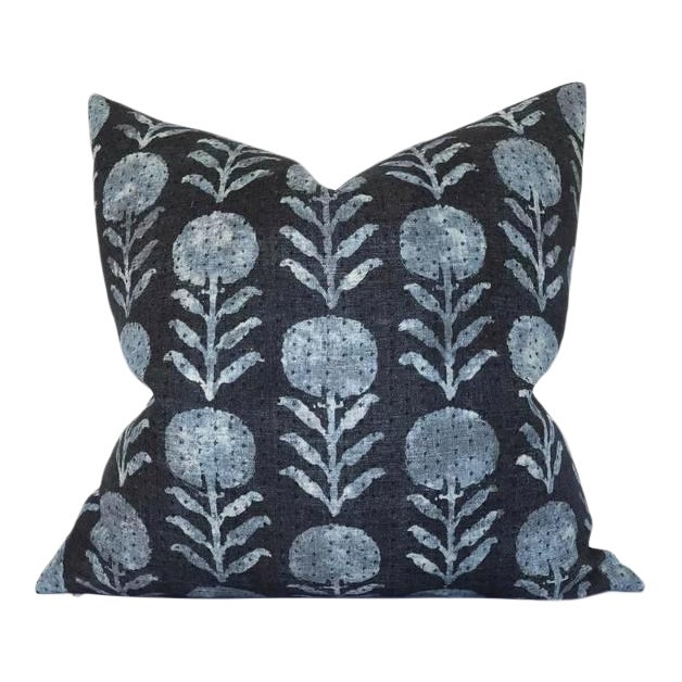 Zinnia Floral Pillow Cover in Indigo For Sale