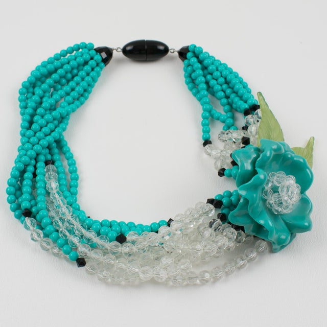 Angela Caputi Turquoise and Black Resin Necklace with Oversized Flower For Sale - Image 13 of 13