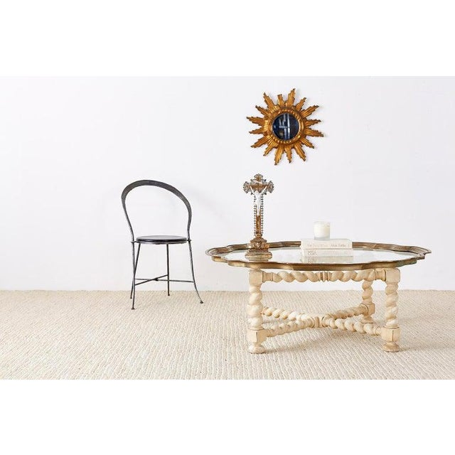 Hollywood Regency coffee table or cocktail table from Baker Furniture's Collector Edition. Features a white-washed oak...