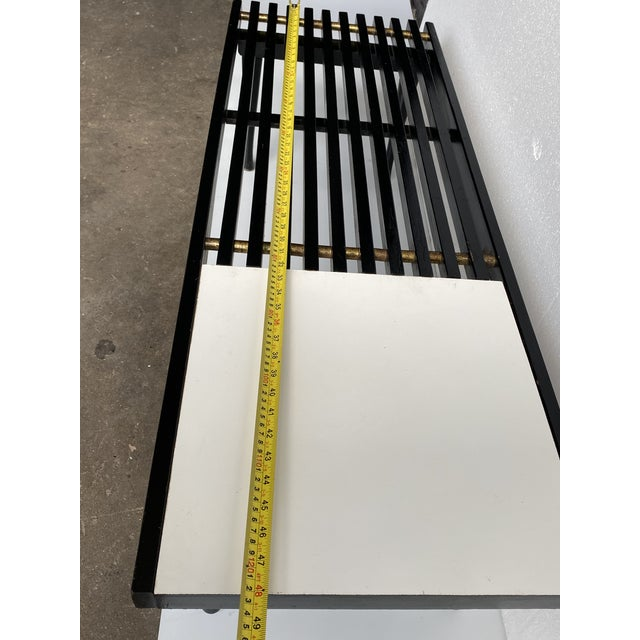 1960s Mid-Century Modern Black White Slat Bench Table For Sale - Image 9 of 10