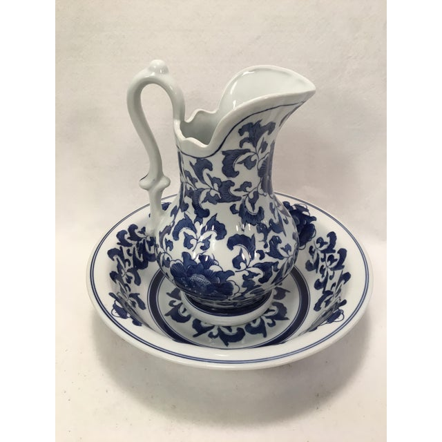 Ashley Belle Cobalt Blue & White Floral Design Pitcher and Bowl Set For Sale - Image 4 of 9