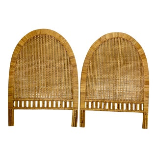 Vintage Woven Caning Wrapped Rattan Twin Headboards- a Pair For Sale