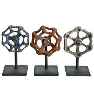 Rustic Valve Handles On Iron Stands - Set of 3 For Sale