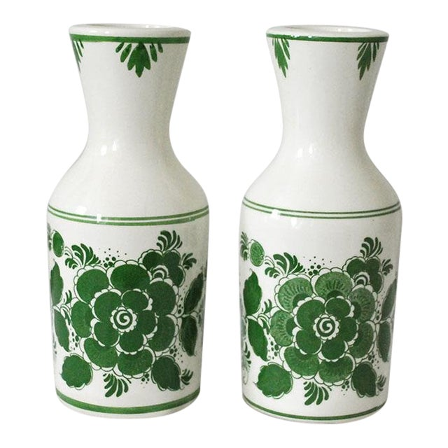 1970s Shabby Chic Delft Green Carafes - a Pair For Sale