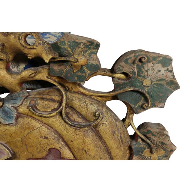 Mid 19th Century Large Japanese Carved and Polychromed Wood Panel of Gourds and Lotus For Sale - Image 5 of 8