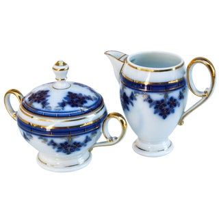 Antique Sugar & Creamer with Gold & Blues For Sale
