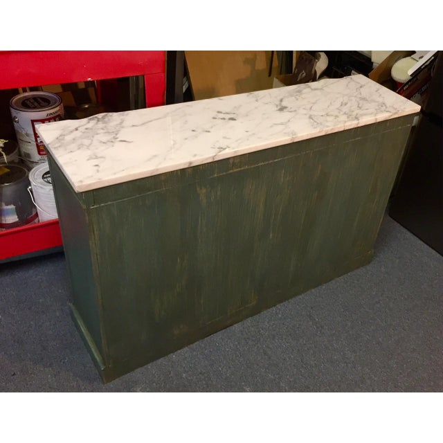 1950s Shabby Chic Marble Top Green Console Table For Sale - Image 10 of 11