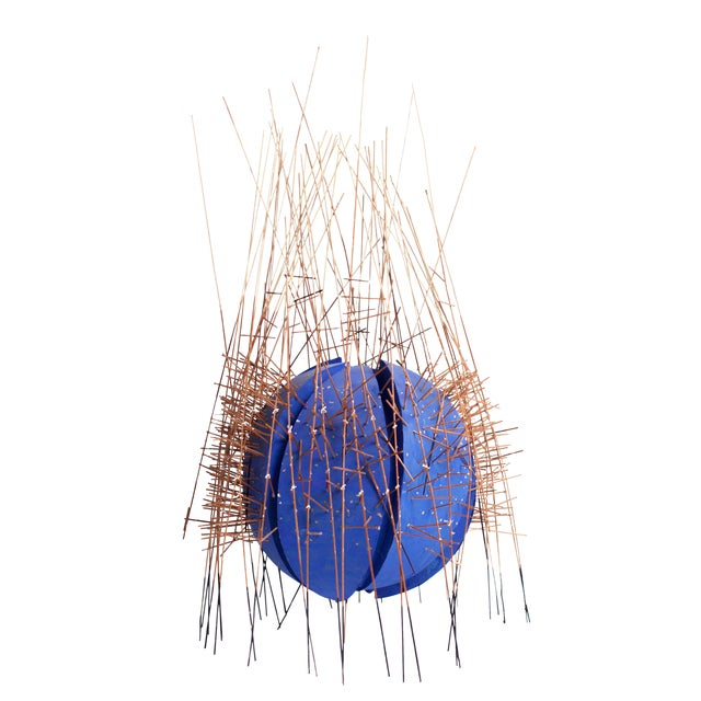 20th Century Irving Harper Kinetic Round Blue Geometric Sculpture For Sale