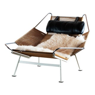 Hans Wegner Model Ge 225 Flag Halyard Lounge Chair for Getama, Denmark, 1960s For Sale