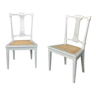 Pair 19th Century Swedish Louis XVI Painted & Caned Chairs For Sale