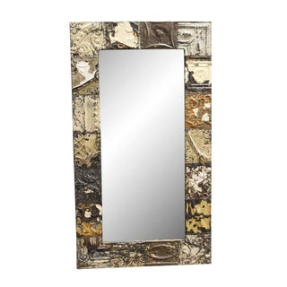 Brown Neutral Tone Ceiling Tin Mirror For Sale