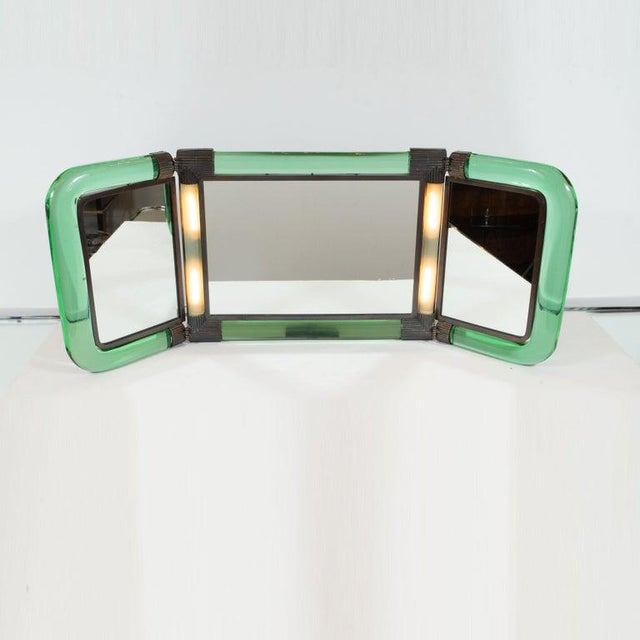 1950s Italian Mid-Century Emerald Glass, Bronze and Glass Illuminated Vanity Mirror For Sale - Image 5 of 10