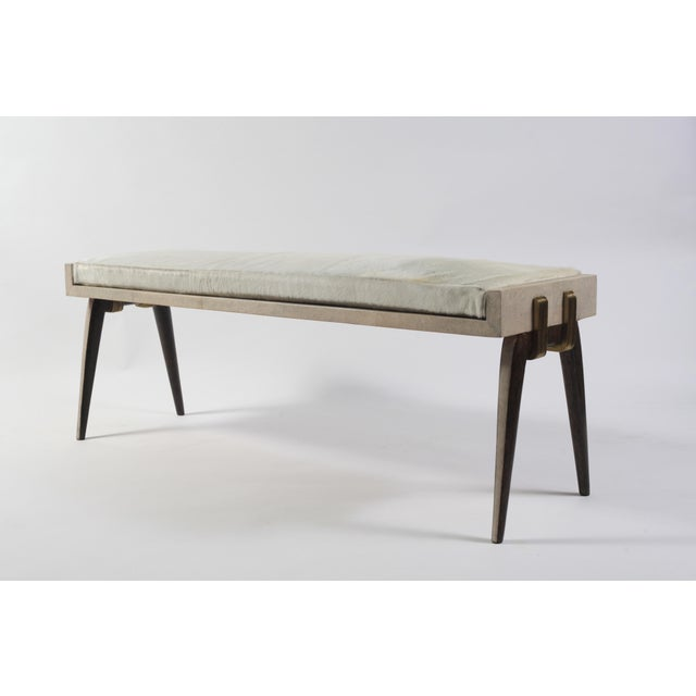 Art Deco Pianist Stool in Cream Shagreen, Palm Wood & Bronze-Patina Brass by R&Y Augousti For Sale - Image 3 of 6