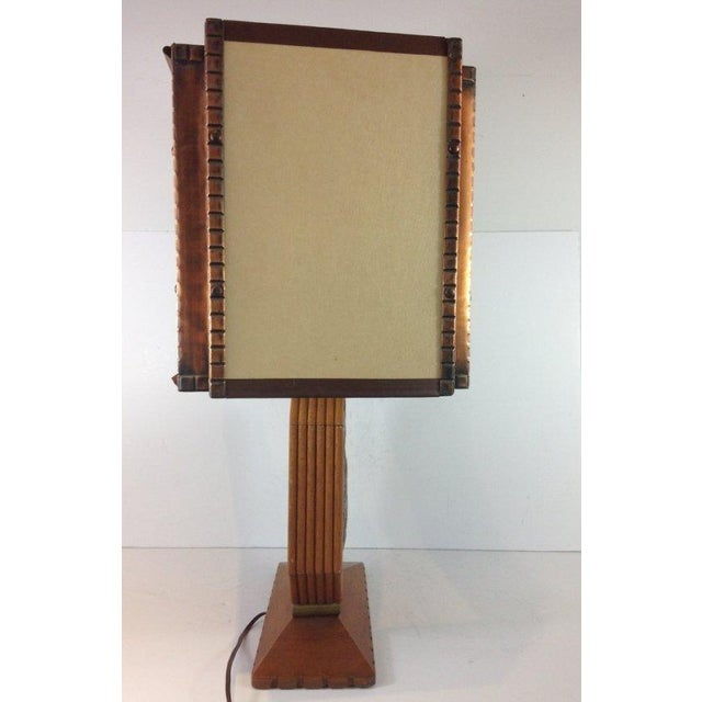Art Deco Wood & Copper Male Shepherd Lamp - Image 2 of 4