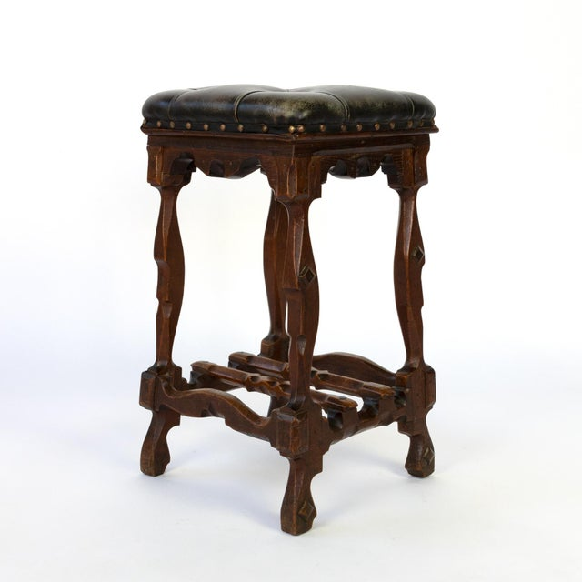 Wood Arts and Crafts Period Square Stool Upholstered in Tufted Dark Leather, English, Circa 1880 For Sale - Image 7 of 11