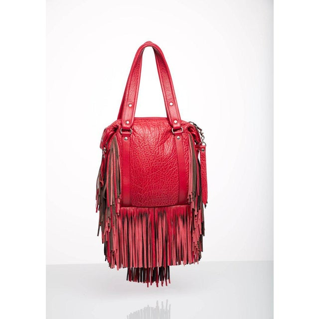 Early 21st Century 2008 Etro Runway Campaign Red Leather Fringe Shoulder Bag For Sale - Image 5 of 8