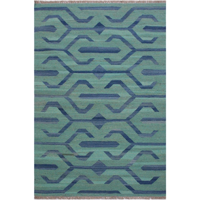 Aqua Tribal Kilim Angeliqu Green/Blue Hand-Woven Wool Rug - 3'2 X 4'11 For Sale - Image 8 of 8