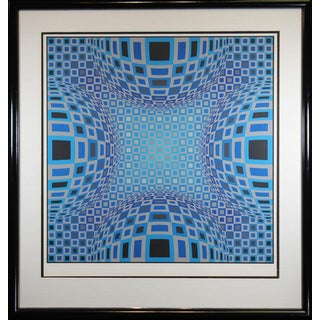 Vintage Mid-Century Victor Vasarely Large Op Art Signed Serigraph Print For Sale
