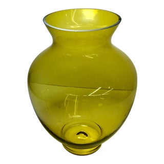 Large Mid-Century Citrine Art Glass Vase For Sale
