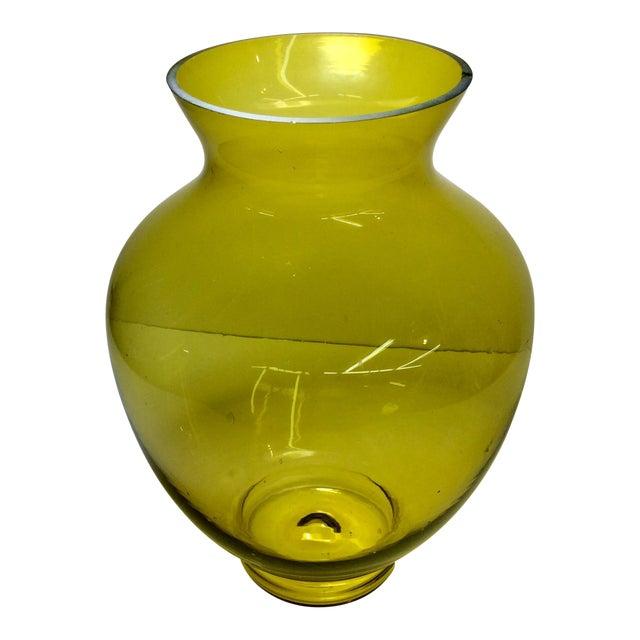 Large Mid-Century Citrine Art Glass Vase For Sale