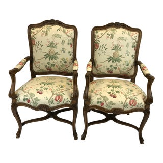 1980s Vintage Regal Carved Fruitwood French Style Bergere Armchairs- A Pair For Sale