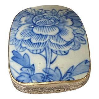 Mid 20th Century Chinese and Porcelain Silver Plate Box For Sale