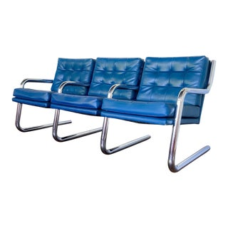 1970s Vintage Chrome and Vinyl 3 Seater Bench For Sale