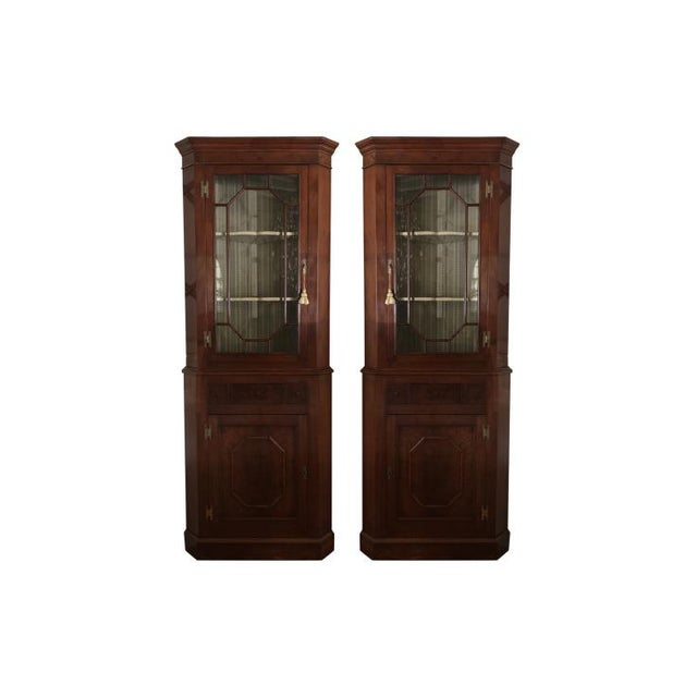 Blue 1900s Chippendale Glass Doored Corner Cabinets - a Pair For Sale - Image 8 of 8