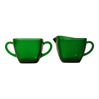 1950s Anchor Hocking Forest Green Cream and Sugar - Set of 2 For Sale
