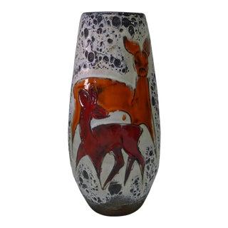 Scheurich West German Mid Century Deer Motif Lava Vase For Sale
