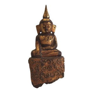 Late 19th Century Antique Gilded Buddha For Sale