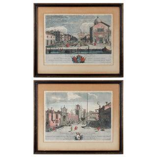 Italian Prints, Views of Venice Engravings by Marco Sebastiano Giampiccoli - a Pair For Sale