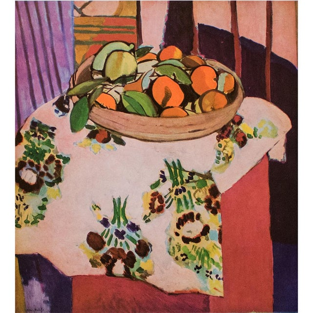 """A beautiful original period large offset lithograph after still life """"Oranges"""" (1912) by Henri Matisse. Signed in the..."""