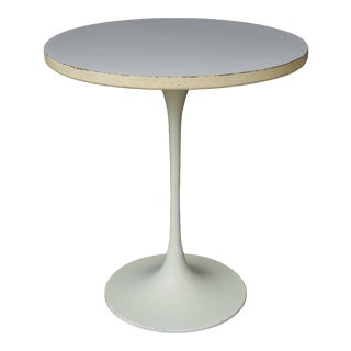 1960s Mid-Century Modern Maurice Burke White Saarinen Style Tulip Side Table For Sale