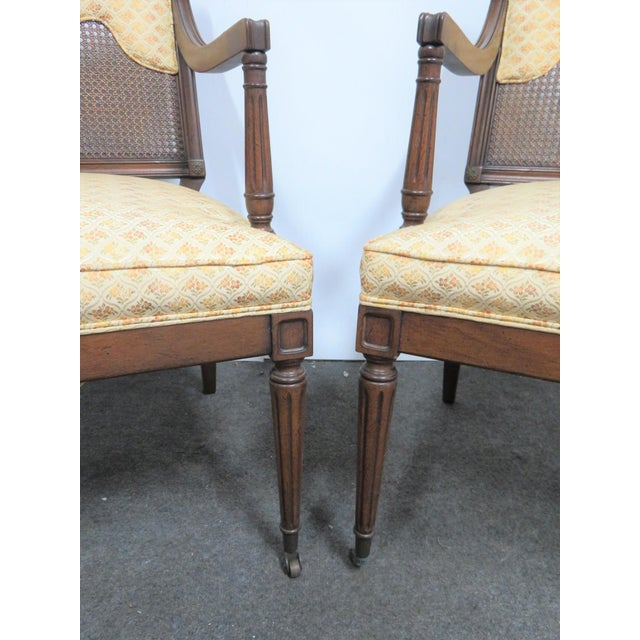 Louis XVI Style Caned Back Upholstered Armchairs - a Pair For Sale In Philadelphia - Image 6 of 7