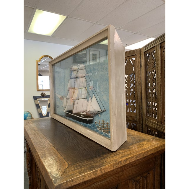 Vintage Nautical Diorama Art Piece in Shadowbox For Sale - Image 4 of 10