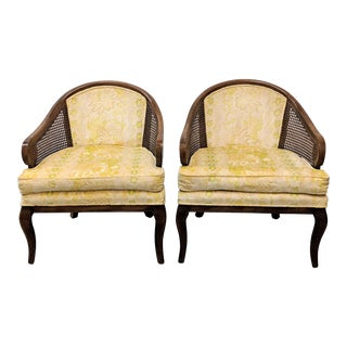 1970s Vintage French Provincial Caned Accent Chairs- A Pair For Sale