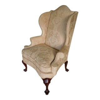 Hickory Chair Co. Chippendale Style Paw Foot Wing Back Arm Chair For Sale
