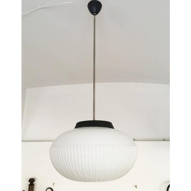 Industrial Opaline Glass Pendants with Structured Spheres For Sale - Image 3 of 10