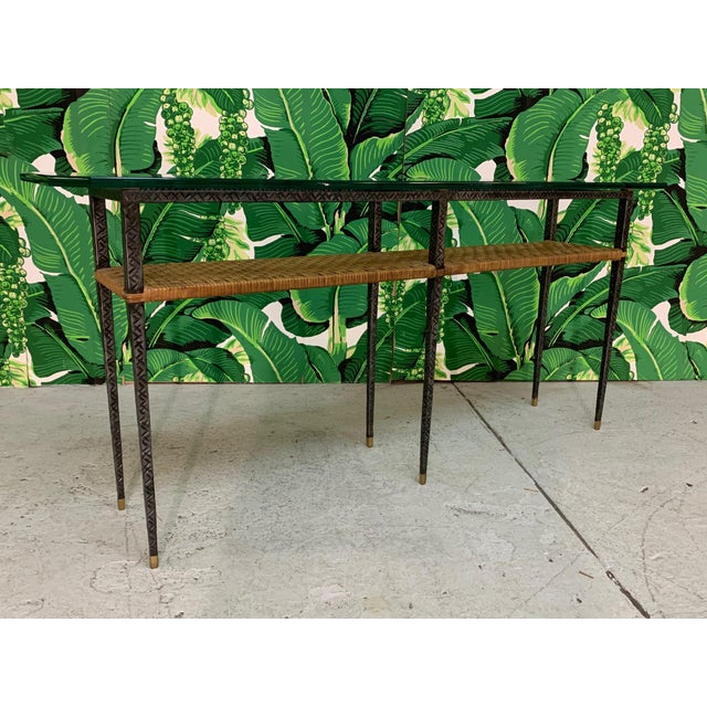 Mid-Century Modern Steel and Rattan Console Table For Sale - Image 3 of 11