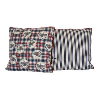 Argyle Plaid Wrangling Cowboy Print Pillow - A Pair For Sale