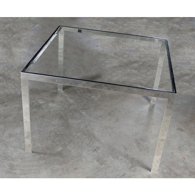 Silver Chrome and Glass Milo Baughman Attribution Parsons Style End Table Vintage Modern For Sale - Image 8 of 10