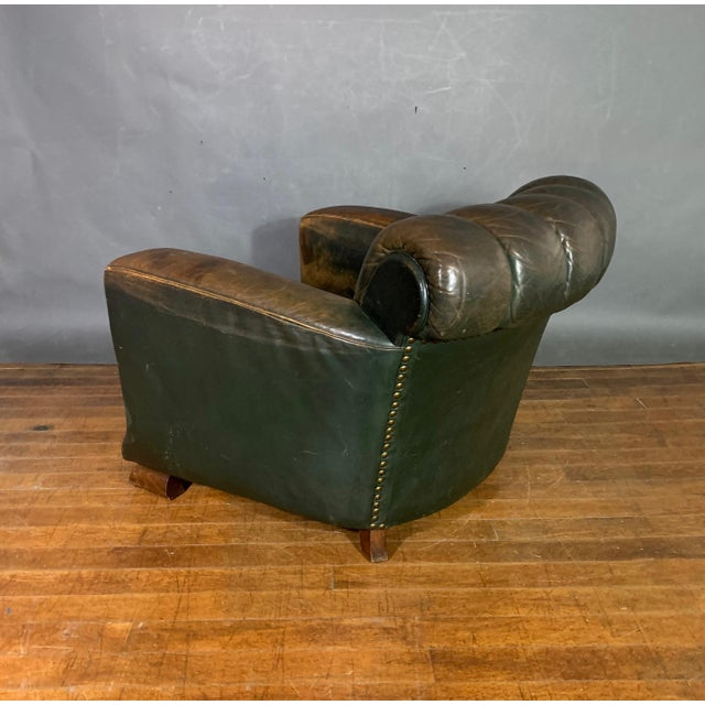 1930s French Art Deco Green Leather Club Chair, 1930s For Sale - Image 5 of 12