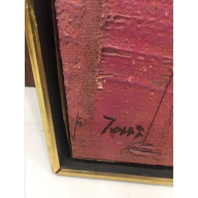 Pink & Red Brutalist Abstract Mid Century Painting - Image 5 of 6
