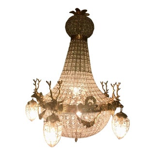 French XL Chandelier Decorated With Deer in Gold Frame For Sale