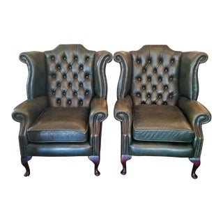 Queen Ann Style Leather Chesterfield Wing Back Armchairs - a Pair For Sale