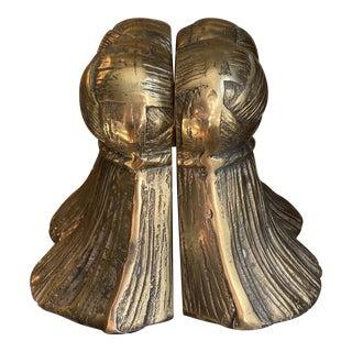Decorative Crafts Brass Tassel Bookends For Sale